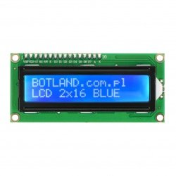 LCD displej 2x16 znaků modrý s konektory