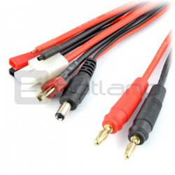 Multi adaptér 6 konektorů - banánky - Deans / Tamiya / BEC / Servo / DC 2,1 mm