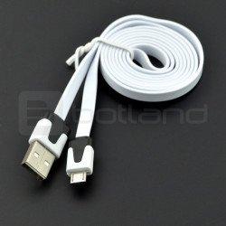 Kabel USB A - microUSB Blow plochý - 1 m