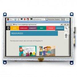 Odporový dotykový displej LCD TFT 5 '' 800x480px HDMI + USB Rev. 2.1 pro Raspberry Pi 3/2 / B +