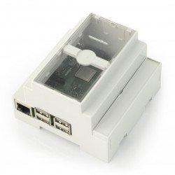 Pouzdro Raspberry Pi 3B + / 3B / 2B na DIN lištu - šedé / průhledné