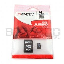 Paměťová karta EMTEC micro SD / SDHC 4 GB třídy 4 s adaptérem