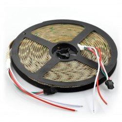 RGB LED pásek WS2812 IP65 60 diod / m, 18W / m, 5V - 5m