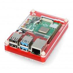Pouzdro pro Raspberry Pi Model 4B Pibow Coupé 4 - červené