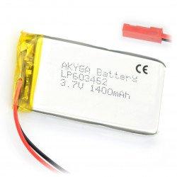 Baterie Akyga 1400mAh 1S 3,7 V Li-Pol - konektor JST-BEC + zásuvka