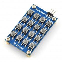 Klávesnice - maticový 4x4 taktový spínač - analogový výstup