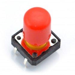 Taktický spínač 12x12 mm s dlouhým víčkem - červený