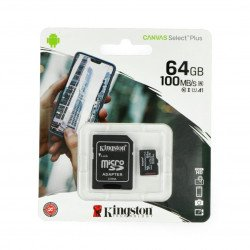 Paměťová karta Kingston Canvas Select Plus microSD 64 GB 100 MB / s UHS-I třída 10 s adaptérem