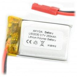 Baterie Akyga Li-Pol 250mAh 1S 3,7V - konektor JST-BEC + zásuvka