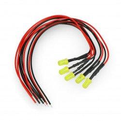 5mm 12V LED s odporem a vodičem - žlutá