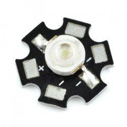 Výkonová LED hvězda 3 W - červená s chladičem