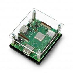 Pouzdro Raspberry Pi 3 Model A + černé a průhledné otevřené