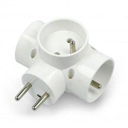 Trojitý rozdělovač DPM pro zásuvku AC 250V - bílý