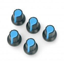 Modrý knoflík potenciometru - 6 / 14mm - 5ks