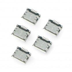 MicroUSB zásuvka typ B - SMD - 5ks.