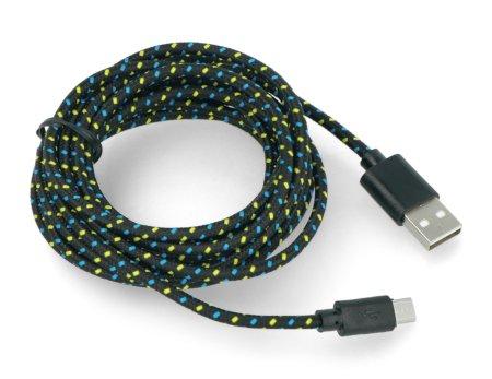USB A - microUSB kabel o délce 3m.