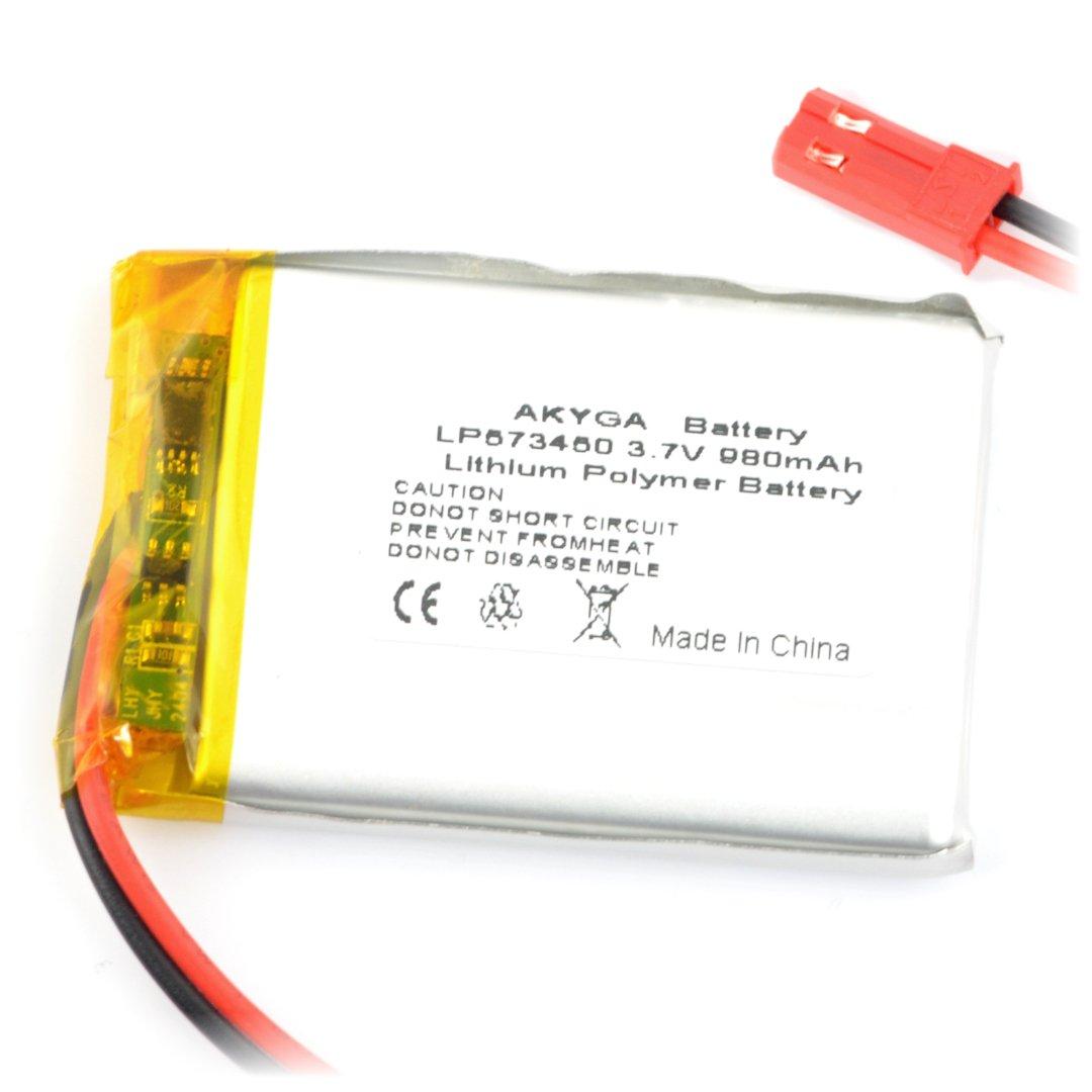 Akyga 980 mAh 1S 3,7 V Li-Pol baterie - konektor JST-BEC + zásuvka - 50 x 34 x 6 mm