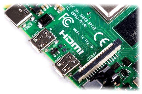 Raspberry Pi 4 - konektory microHDMI