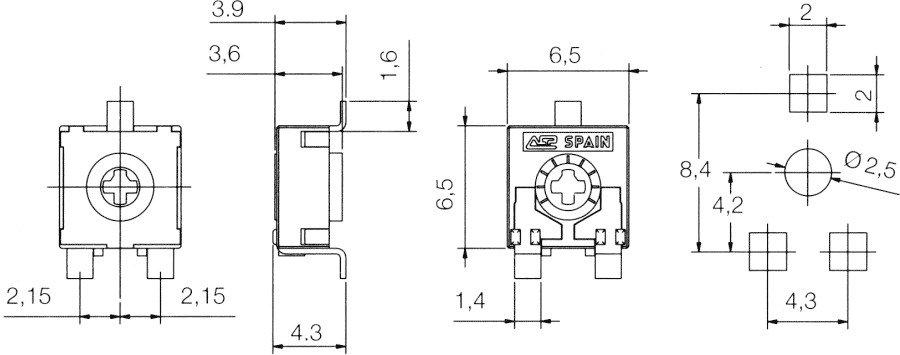 SMD potenciometr - rozměry